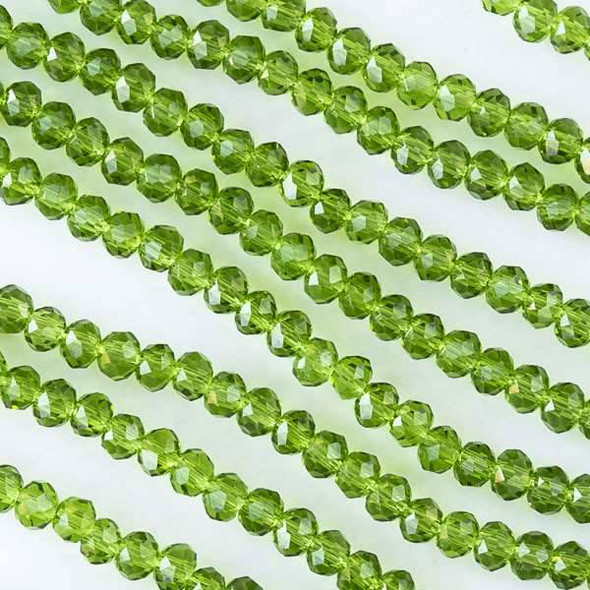 Crystal 2x3mm Green Grass Rondelles - Approx. 15.5 inch strand