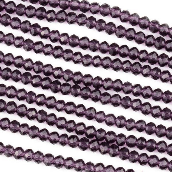 Crystal 2x3mm Lilac Purple Faceted Rondelle Beads -Approx. 15.5 inch strand