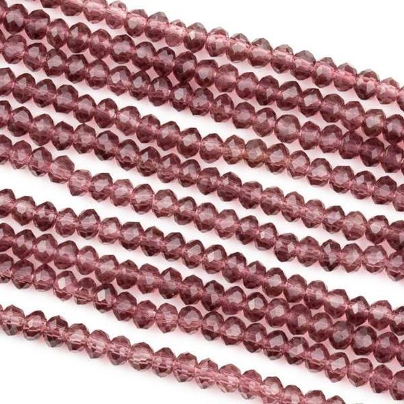Crystal 2x3mm Medium Amethyst Purple Rondelle Beads -Approx. 15.5 inch strand