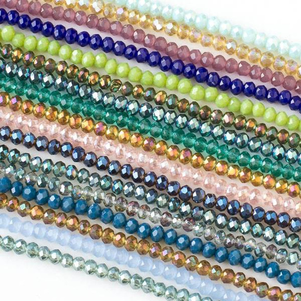 A Bulk Mix of 50 2x3mm Crystal Rondelles on Approx. 15.5 inch strand