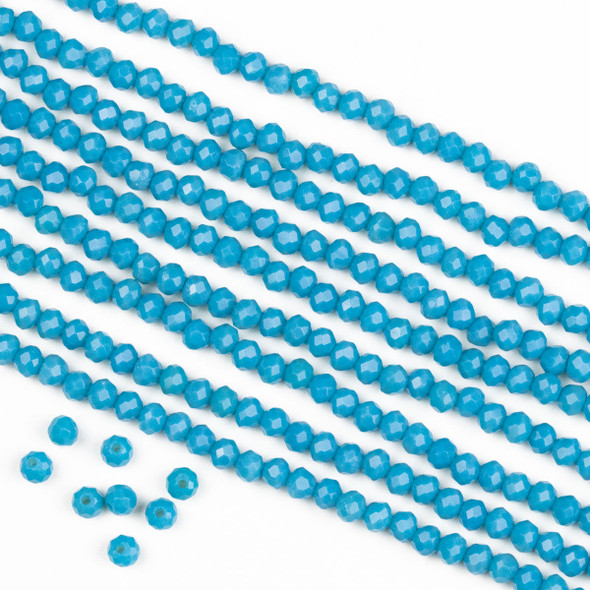 Crystal 2x3mm Opaque Azure Blue Rondelle Beads -Approx. 15.5 inch strand