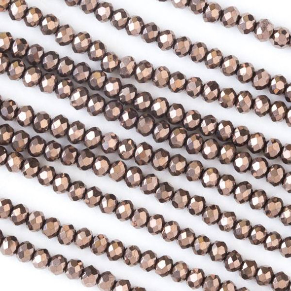 Crystal 2x3mm Opaque Oiled Bronze Faceted Rondelle Beads - Approx. 15.5 inch strand