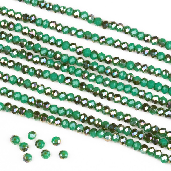 Crystal 2x3mm Opaque Bronze Kissed Jade Green Rondelle Beads -Approx. 15.5 inch strand