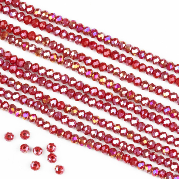 Crystal 2x3mm Opaque Chili Red Rondelle Beads with an AB finish -Approx. 15.5 inch strand