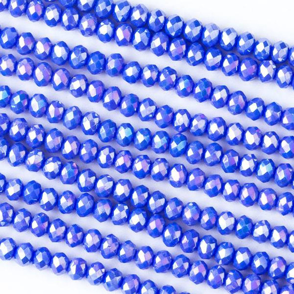 Crystal 2x3mm Opaque Cornflower Blue Rondelles with an AB finish - Approx. 15.5 inch strand