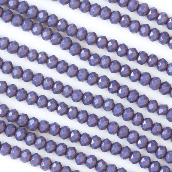 Crystal 2x3mm Opaque Dark Purple Faceted Rondelle Beads - Approx. 15.5 inch strand