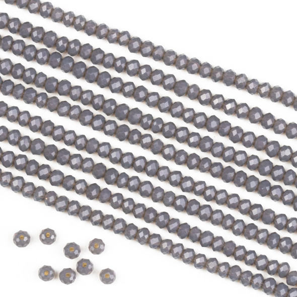 Crystal 2x3mm Opaque Fog Grey Rondelle Beads -Approx. 15.5 inch strand