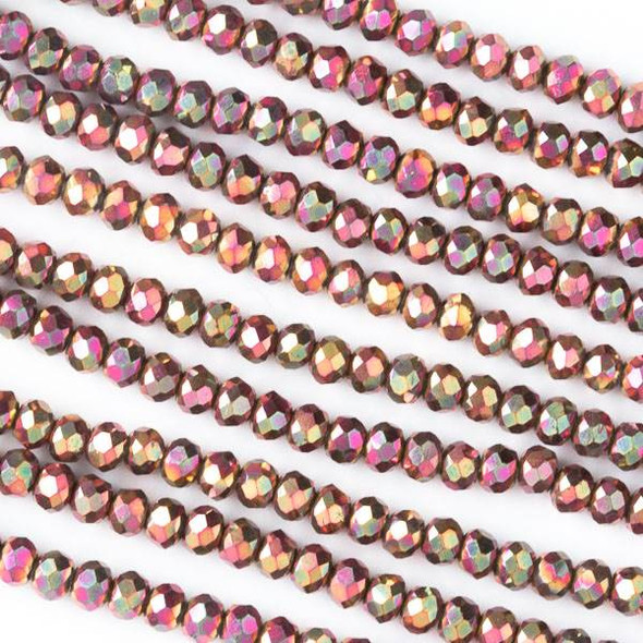 Crystal 2x3mm Opaque Golden Copper Faceted Rondelle Beads with a Hot Pink AB finish - Approx. 15.5 inch strand