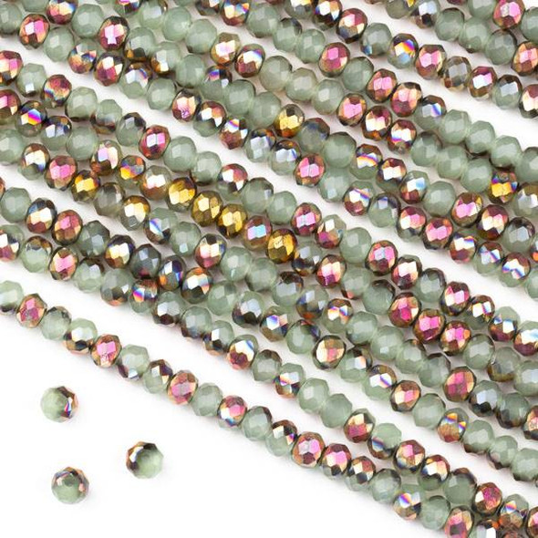 Crystal 2x3mm Opaque Hot Pink Golden Copper Kissed Spearmint Green Faceted Rondelle Beads - Approx. 15.5 inch strand