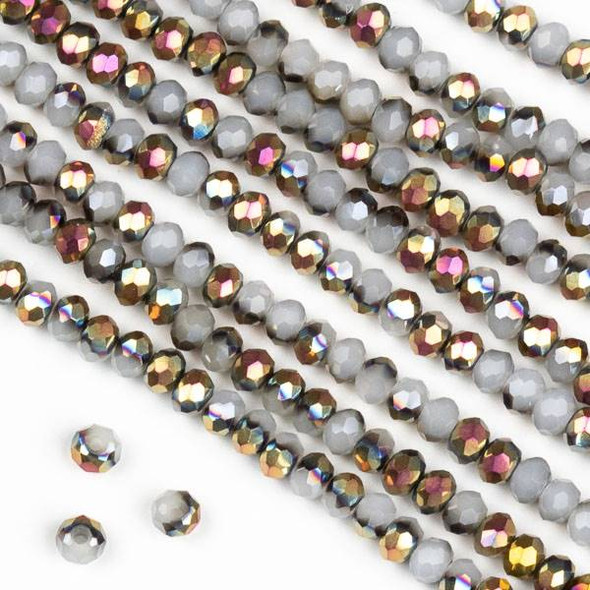 Crystal 2x3mm Hot Pink Golden Copper Kissed Opaque Smoke Grey Rondelle Beads - Approx. 15.5 inch strand