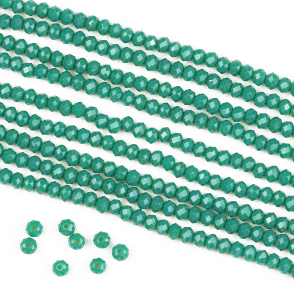 Crystal 2x3mm Opaque Jade Green Rondelle Beads -Approx. 15.5 inch strand
