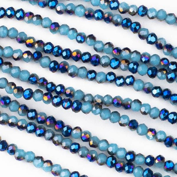 Crystal 2x3mm Opaque Midnight Blue Kissed Aqua Rondelles - Approx. 15.5 inch strand