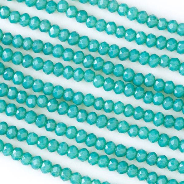 Crystal 2x3mm Opaque Milky Ocean Blue Faceted Rondelle Beads - Approx. 15.5 inch strand