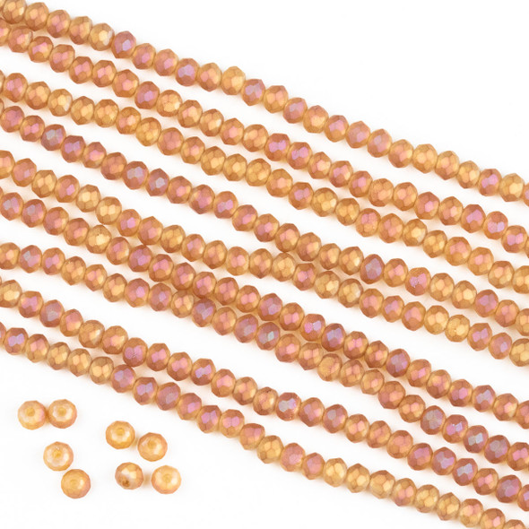Crystal 2x3mm Opaque Matte Sunset Orange Rondelle Beads -Approx. 15.5 inch strand