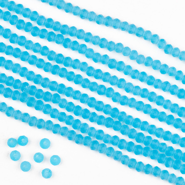 Crystal 2x3mm Opaque Matte Wedgewood Blue Rondelle Beads -Approx. 15.5 inch strand