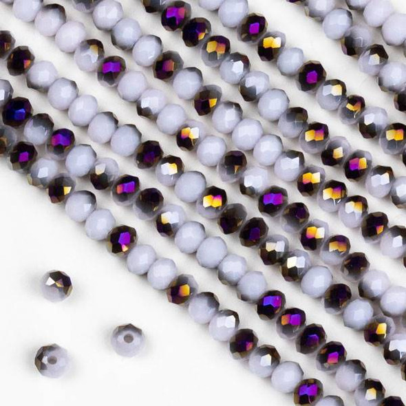Crystal 2x3mm Purple Rainbow Kissed Opaque Light Pink Hydrangea Rondelle Beads - Approx. 15.5 inch strand