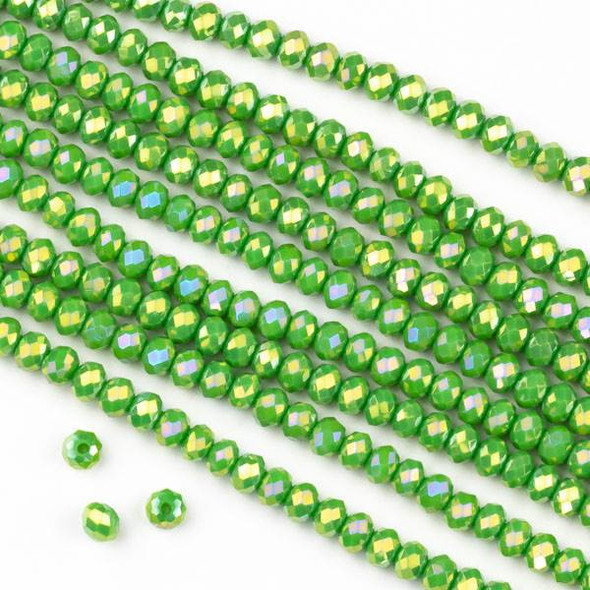 Crystal 2x3mm Opaque Peridot Green Faceted Rondelle Beads with a Golden AB finish - Approx. 15.5 inch strand