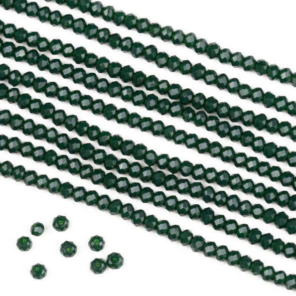 Crystal 2x3mm Opaque Pine Green Rondelle Beads -Approx. 15.5 inch strand