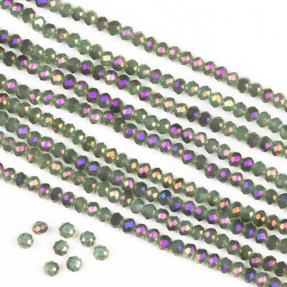 Crystal 2x3mm Opaque Purple Rainbow Kissed Spanish Moss Green Rondelle Beads -Approx. 15.5 inch strand