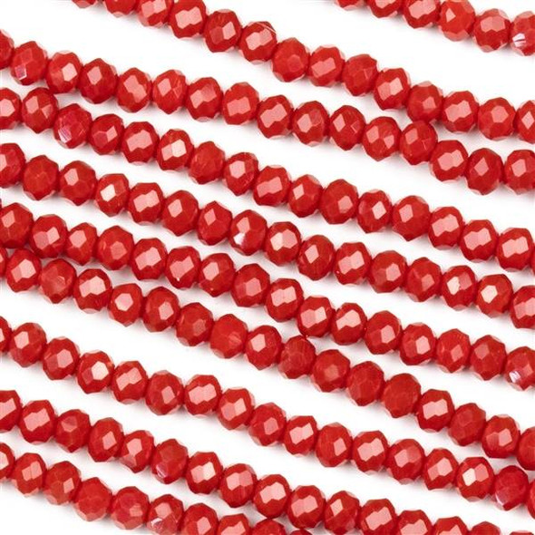 Crystal 2x3mm Opaque Red Velvet Rondelles - Approx. 15.5 inch strand