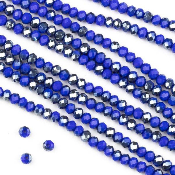 Crystal 2x3mm Opaque Silver Kissed Cornflower Blue Faceted Rondelle Beads - Approx. 15.5 inch strand