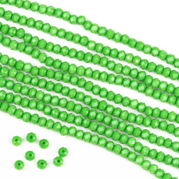 Crystal 2x3mm Opaque Tropical Green Rondelle Beads -Approx. 15.5 inch strand