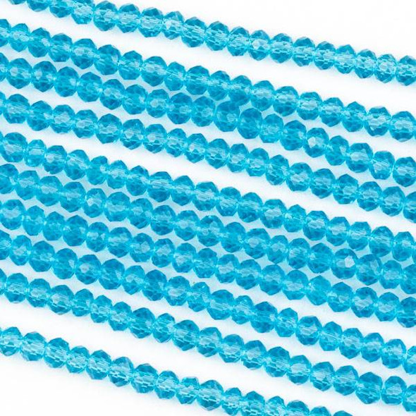 Crystal 2x3mm Sky Blue Rondelle Beads -Approx. 15.5 inch strand