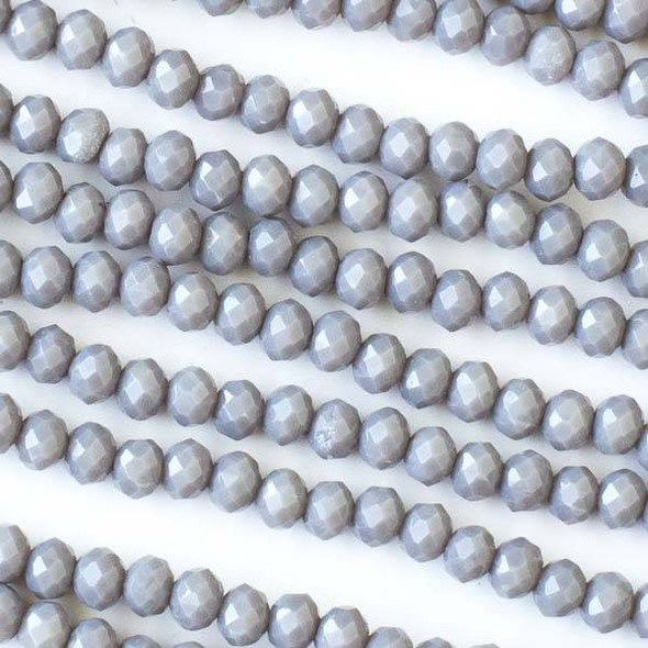 Crystal 3x4mm Opaque Grey Faceted Rondelle Beads - Approx. 15.5 inch strand