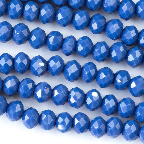 Crystal 3x4mm Opaque Dark Lake Blue Faceted Rondelle Beads - Approx. 15.5 inch strand