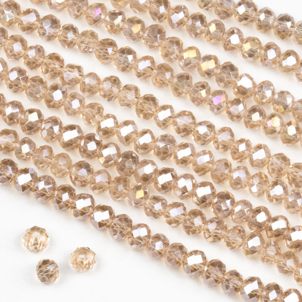 Crystal 3x4mm Pink Blush Rondelle Beads with an AB finish -Approx. 15.5 inch strand