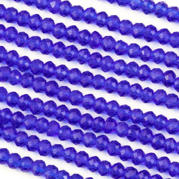 Crystal 3x4mm Cobalt Blue Rondelle Beads -Approx. 15.5 inch strand