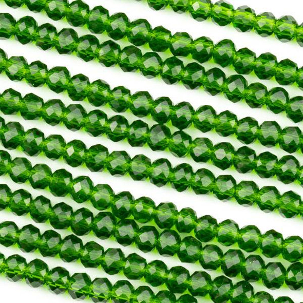 Crystal 3x4mm Dark Emerald Green Rondelle Beads -Approx. 15.5 inch strand