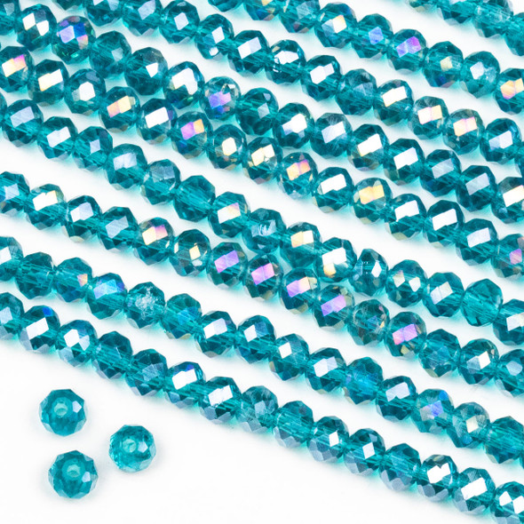 Crystal 3x4mm Dark Teal Rondelle Beads with an AB finish -Approx. 15.5 inch strand