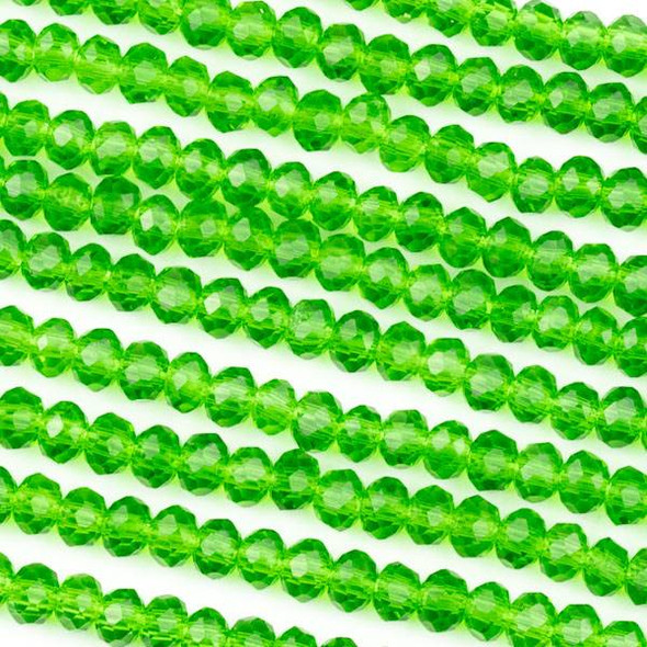 Crystal 3x4mm Emerald Green Rondelle Beads -Approx. 15.5 inch strand