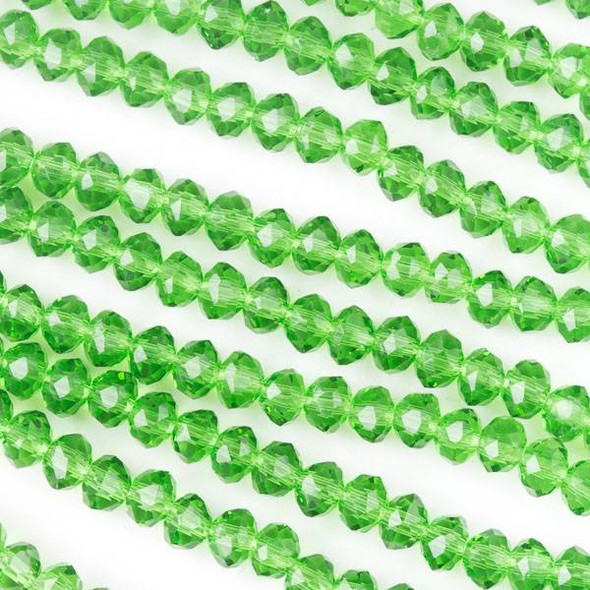 Crystal 3x4mm Green Grass Rondelles - Approx. 15.5 inch strand