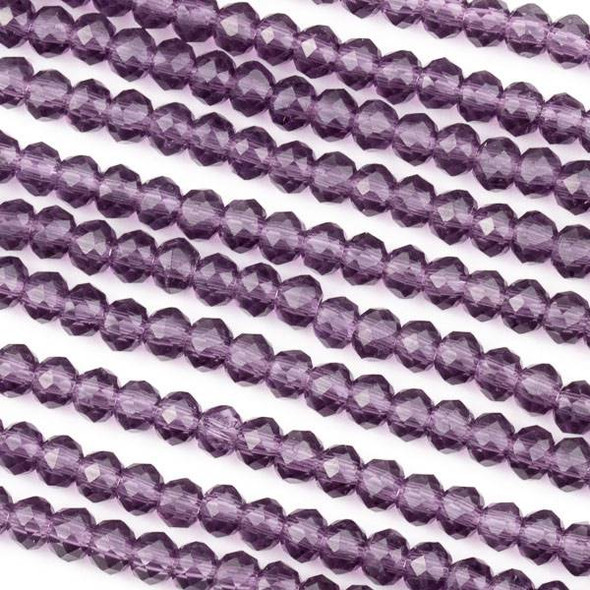 Crystal 3x4mm Lilac Purple Rondelle Beads -Approx. 15.5 inch strand