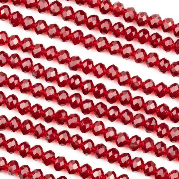 Crystal 3x4mm Light Siam Red Faceted Rondelle Beads - Approx. 15.5 inch strand