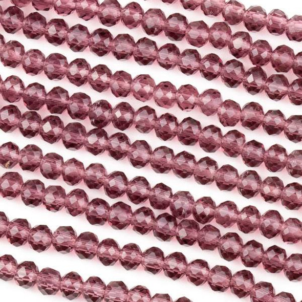 Crystal 3x4mm Medium Amethyst Purple Rondelle Beads -Approx. 15.5 inch strand