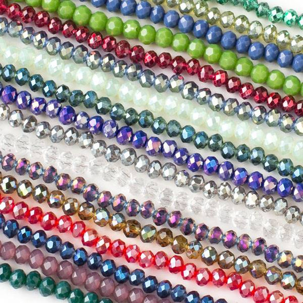 A Bulk Mix of 50 3x4mm Crystal Rondelles on Approx. 15.5 Inch Strands