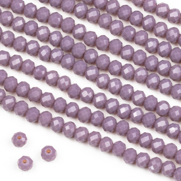 Crystal 3x4mm Milky Dusty Plum Purple Rondelle Beads -Approx. 15.5 inch strand