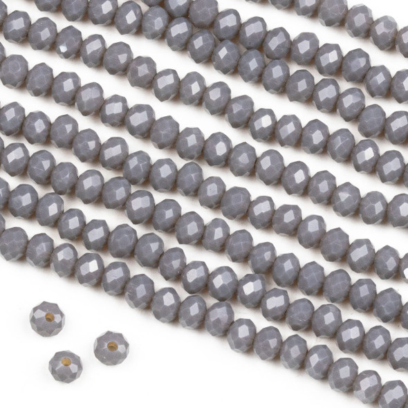 Crystal 3x4mm Milky Fog Grey Rondelle Beads -Approx. 15.5 inch strand