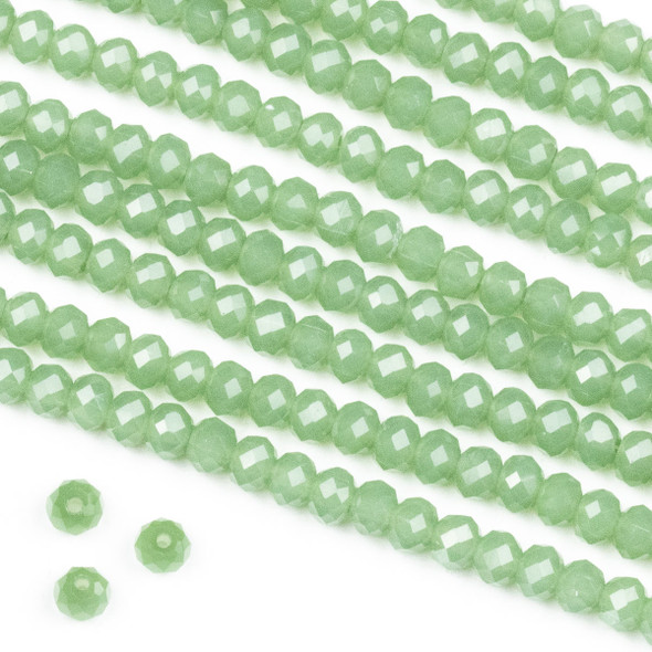 Crystal 3x4mm Milky Winter Sage Green Rondelle Beads -Approx. 15.5 inch strand