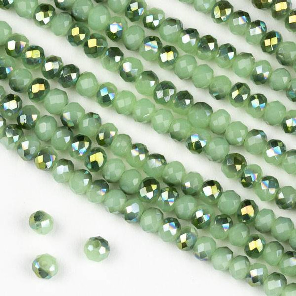 Crystal 3x4mm Opaque Spearmint Kissed Green Rondelle Beads - Approx. 15.5 inch strand