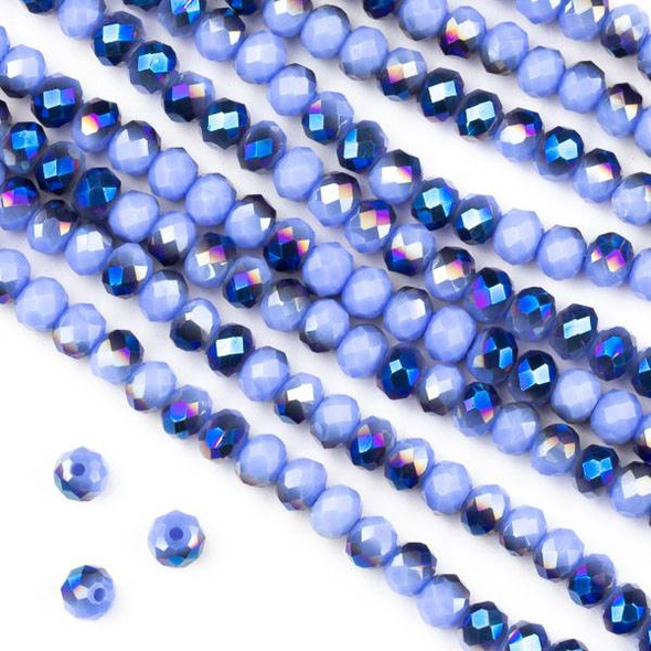 Crystal 3x4mm Opaque Blue Rainbow Kissed Light Periwinkle Faceted Rondelle Beads - Approx. 15.5 inch strand