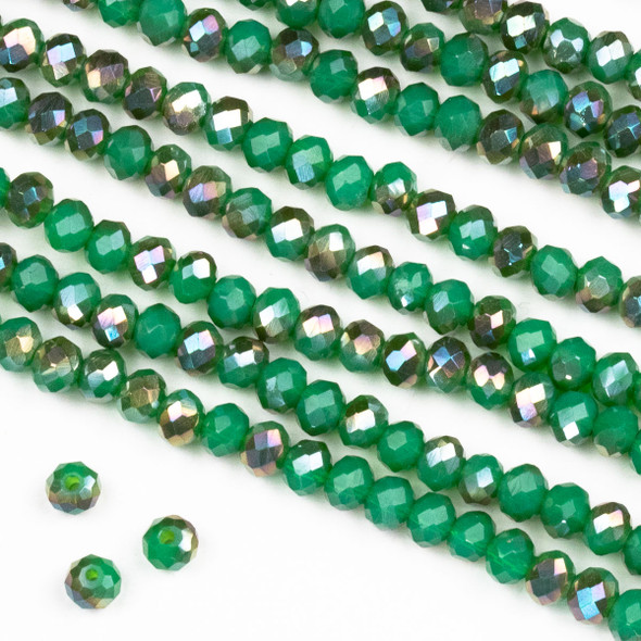 Crystal 3x4mm Opaque Bronze Kissed Jade Green Rondelle Beads -Approx. 15.5 inch strand