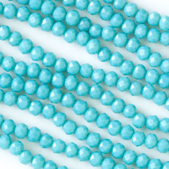 Crystal 3x4mm Opaque Chinese Turquoise Blue Faceted Rondelle Beads - Approx. 15.5 inch strand
