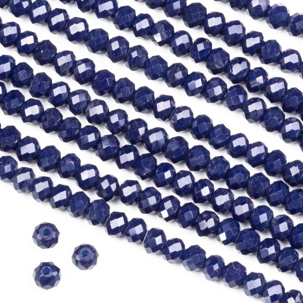 Crystal 3x4mm Opaque Dark Navy Blue Rondelle Beads -Approx. 15.5 inch strand