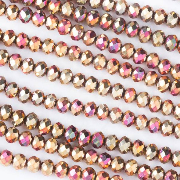 Crystal 3x4mm Opaque Golden Copper Faceted Rondelle Beads with a Hot Pink AB finish - Approx. 15.5 inch strand