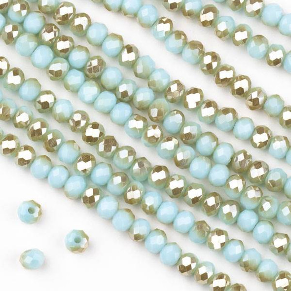 Crystal 3x4mm Opaque Honey Kissed Seafoam Blue Faceted Rondelle Beads  - Approx. 15.5 inch strand