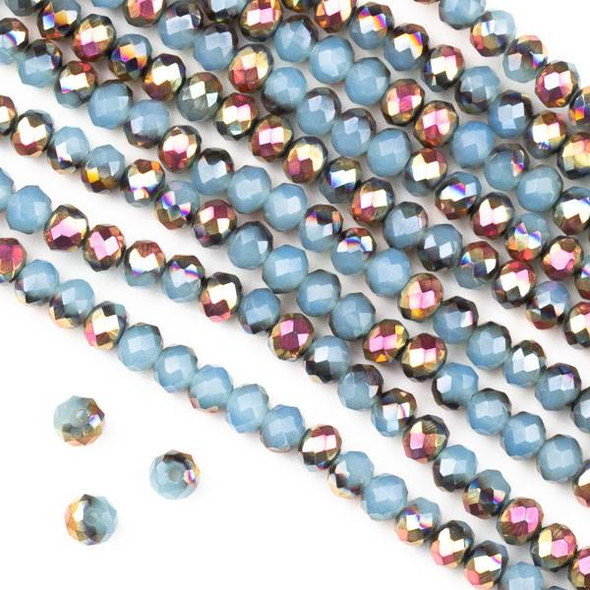 Crystal 3x4mm Opaque Hot Pink Golden Copper Kissed Blue Grey Faceted Rondelle Beads - Approx. 15.5 inch strand